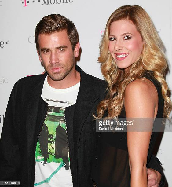 TV personality Jason Wahler and Ashley Slack attend Google and TMobile's celebration of the launch of Google Music at Mr Brainwash Studio on November...