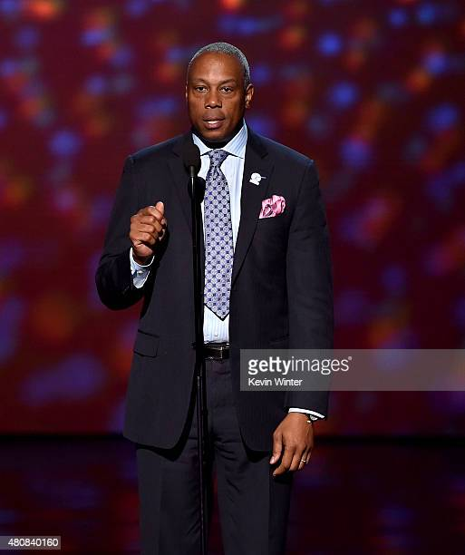 Personality Jay Harris speaks onstage during The 2015 ESPYS at Microsoft Theater on July 15, 2015 in Los Angeles, California.