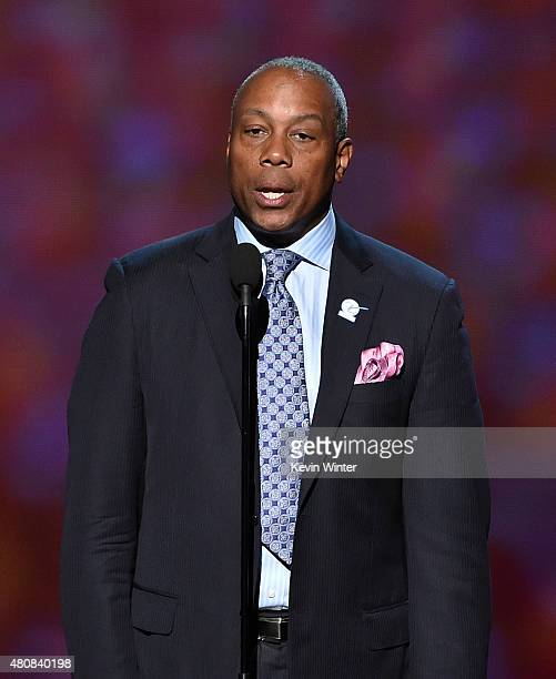 TV personality Jay Harris speaks onstage during The 2015 ESPYS at Microsoft Theater on July 15 2015 in Los Angeles California