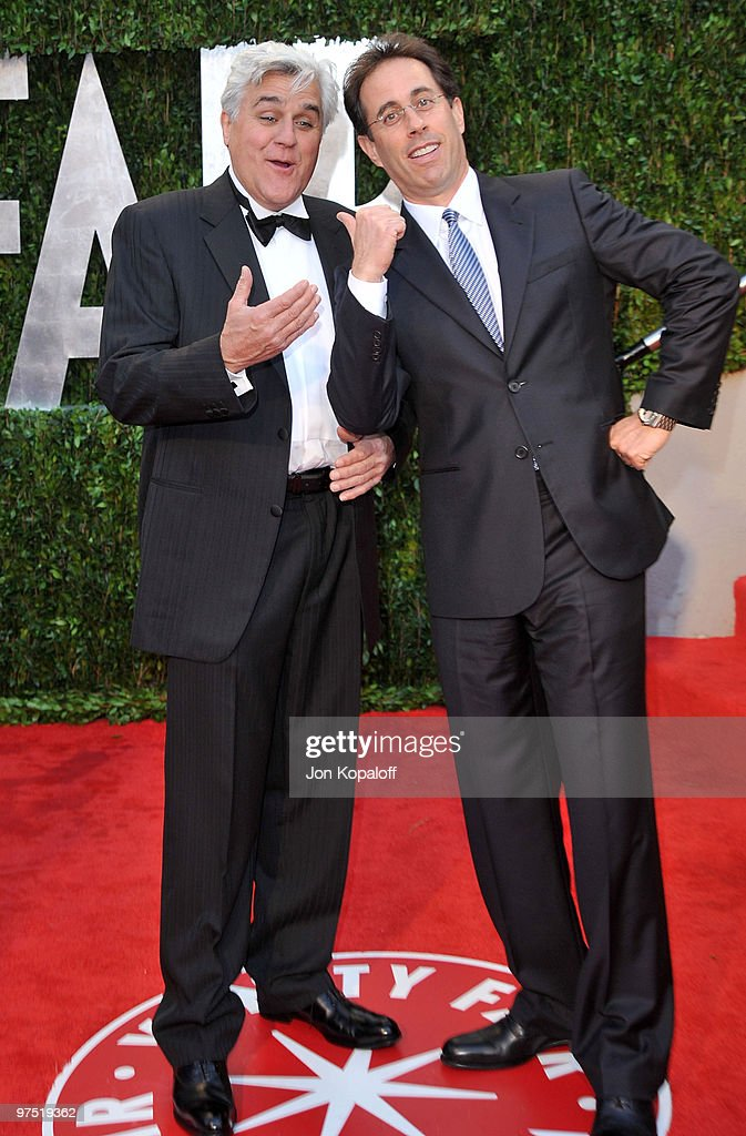 TV personality Jay Leno and actor Jerry Seinfeld arrive at the 2010 Vanity Fair Oscar Party held at Sunset Tower on March 7, 2010 in West Hollywood, California.