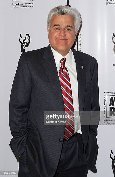 TV personality Jay Leno arrives at the American Women in Radio Television Southern California 2010 Genii Awards at Skirball Cultural Center on April...