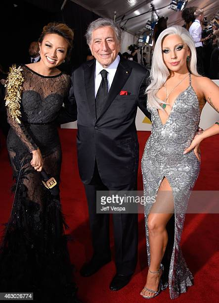 TV personality Jeannie Mai recording artists Tony Bennett and Lady Gaga attends The 57th Annual GRAMMY Awards at the STAPLES Center on February 8...