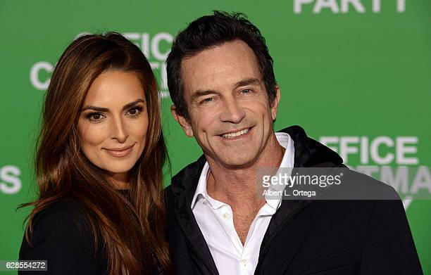 TV personality Jeff Probst and Lisa Ann Russell arrive at the Premiere Of Paramount Pictures' Office Christmas Party held at Regency Village Theatre...