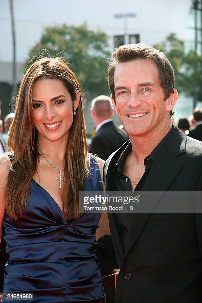 TV personality Jeff Probst and Lisa Ann Russell attend the 2011 Primetime Creative Arts Emmy Awards at Nokia Theatre LA Live on September 10 2011 in...