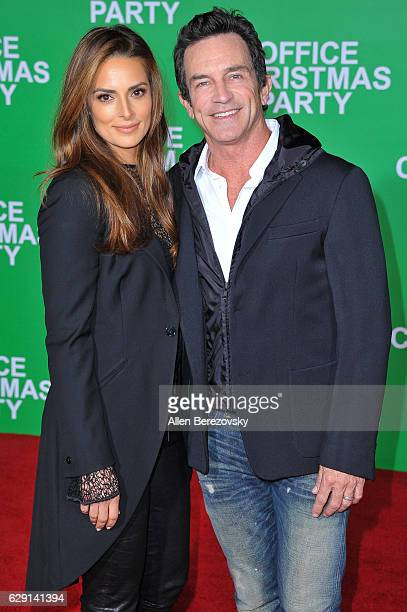 TV personality Jeff Probst and Lisa Ann Russell attend the premiere of Paramount Pictures' Office Christmas Party at Regency Village Theatre on...