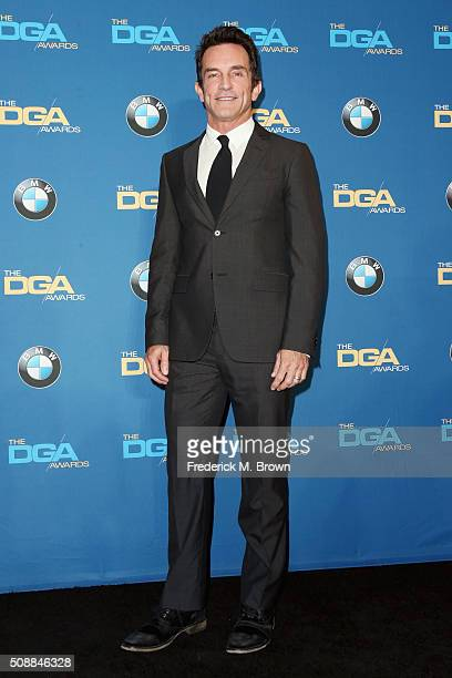 TV personality Jeff Probst poses in the press room during the 68th Annual Directors Guild Of America Awards at the Hyatt Regency Century Plaza on...