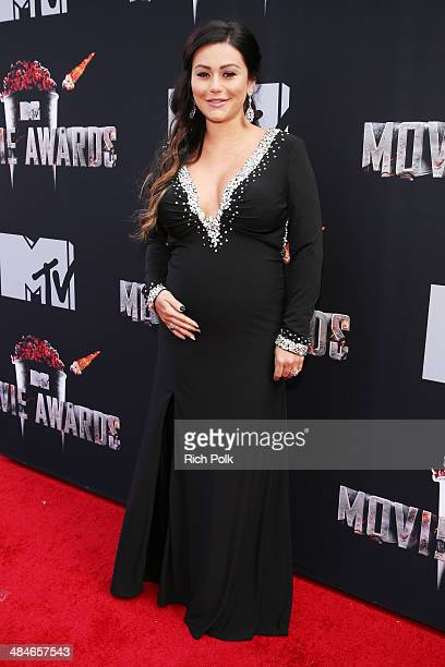 TV personality Jenni 'JWoww' Farley attends the 2014 MTV Movie Awards at Nokia Theatre LA Live on April 13 2014 in Los Angeles California