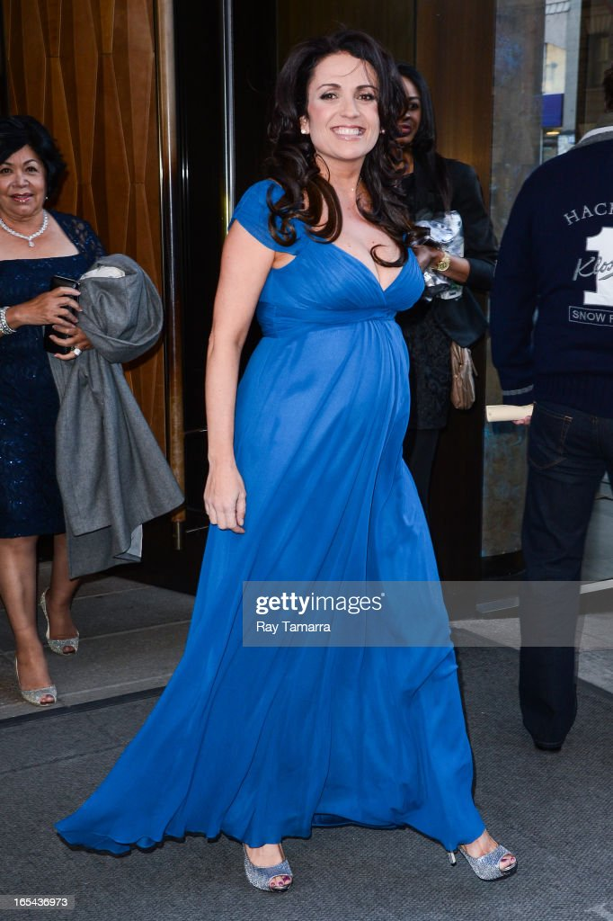 TV personality Jenni Pulos leaves her Soho hotel on April 3, 2013 in New York City.