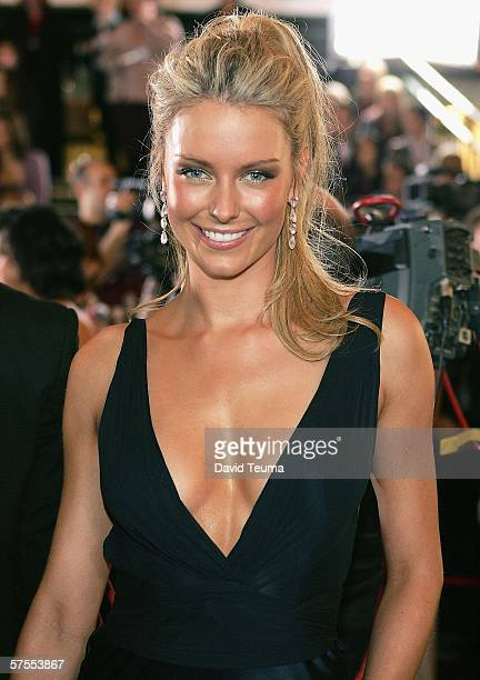 TV personality Jennifer Hawkins poses as she arrives for the 2006 TV Week Logie Awards at the Crown Entertainment Complex on May 7 2006 in Melbourne...