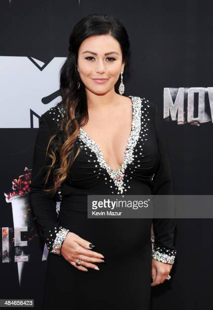 TV personality Jennifer 'JWoww' Farley attends the 2014 MTV Movie Awards at Nokia Theatre LA Live on April 13 2014 in Los Angeles California
