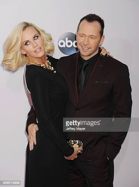 TV personality Jenny McCarthy and singer/actor Donnie Wahlberg arrive at the 2014 American Music Awards at Nokia Theatre LA Live on November 23 2014...