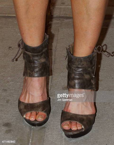 Personality Jill Nicolini shoe detail attends The Cinema Society Audi host a screening of Marvel's Avengers Age of Ultron at the SVA Theater on April...