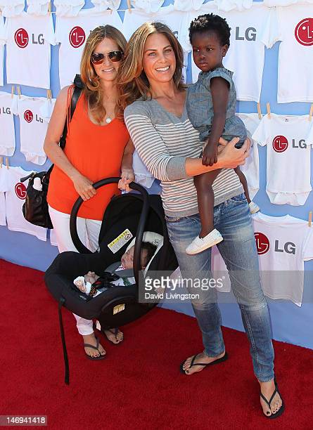 TV personality Jillian Michaels partner Heidi Rhoades son Phoenix and daughter Lukensia attend LG's 20 Magic Minutes A Family Affair hosted by...