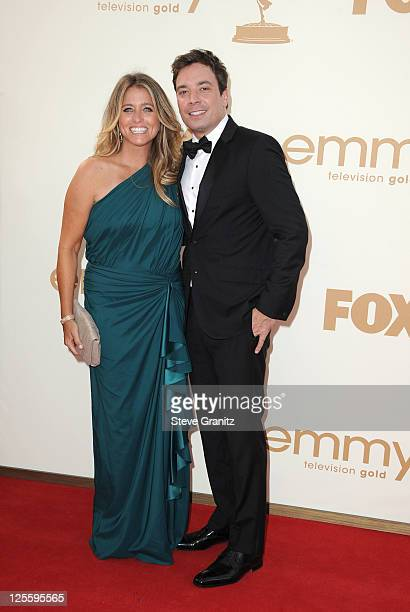 TV personality Jimmy Fallon and Nancy Juvonen arrive to the 63rd Primetime Emmy Awards at the Nokia Theatre LA Live on September 18 2011 in Los...
