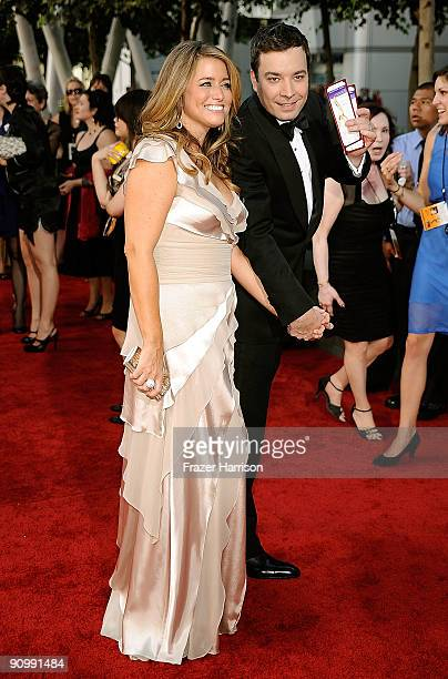 TV personality Jimmy Fallon and producer Nancy Juvonen arrive at the 61st Primetime Emmy Awards held at the Nokia Theatre on September 20 2009 in Los...
