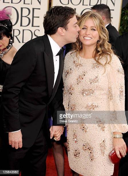 TV personality Jimmy Fallon and wife producer Nancy Juvonen arrive at the 68th Annual Golden Globe Awards held at The Beverly Hilton hotel on January...