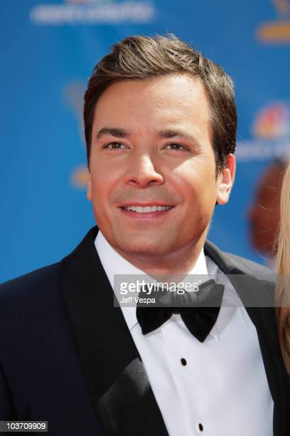 TV personality Jimmy Fallon arrives at the 62nd Annual Primetime Emmy Awards held at the Nokia Theatre LA Live on August 29 2010 in Los Angeles...