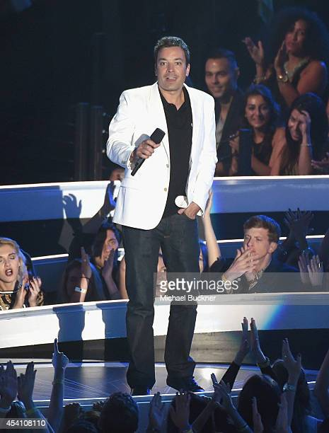 TV personality Jimmy Fallon speaks onstage during the 2014 MTV Video Music Awards at The Forum on August 24 2014 in Inglewood California