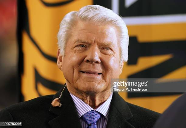 TV personality Jimmy Johnson looks on prior to the NFC Championship game between the San Francisco 49ers and the Green Bay Packers at Levi's Stadium...
