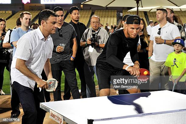 Personality Jimmy Kimmel and NBA player Blake Griffin participate in Clayton Kershaw's 3rd Annual PingPong4Purpose tournament at Dodger Stadium on...