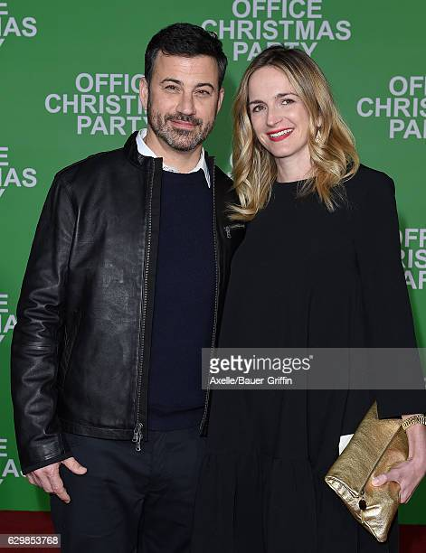 TV personality Jimmy Kimmel and screenwriter Molly McNearney arrive at the Los Angeles Premiere of 'Office Christmas Party' at Regency Village...