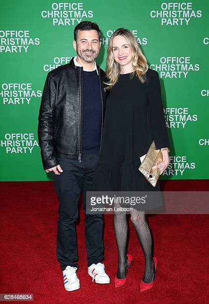 TV personality Jimmy Kimmel and screenwriter Molly McNearney attend the LA Premiere of Paramount Pictures 'Office Christmas Party' at Regency Village...