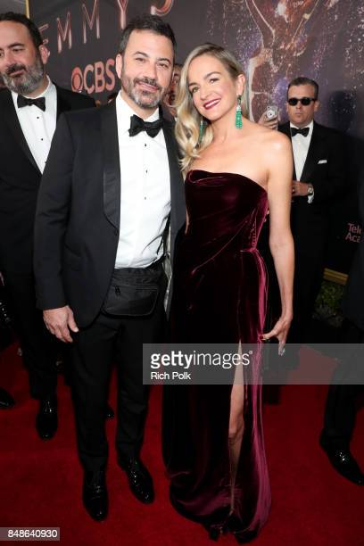 TV personality Jimmy Kimmel and writer Molly McNearney walk the red carpet during the 69th Annual Primetime Emmy Awards at Microsoft Theater on...