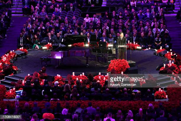 TV personality Jimmy Kimmel speaks during The Celebration of Life for Kobe Gianna Bryant at Staples Center on February 24 2020 in Los Angeles...