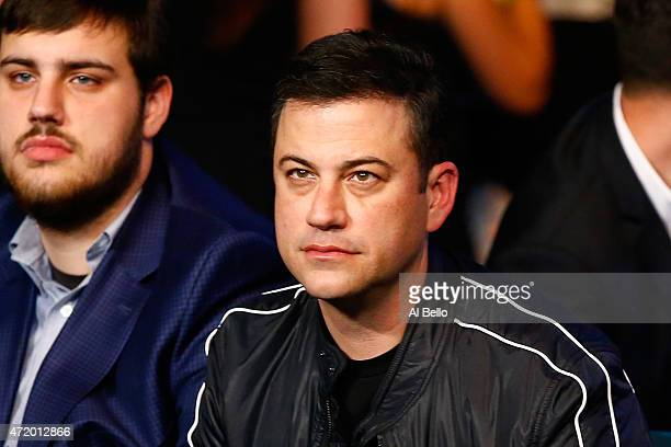 TV personality Jimmy Kimmel watches Vasyl Lomachenko take on Gamalier Rodriguez in their WBO featherweight championship bout on May 2 2015 at MGM...