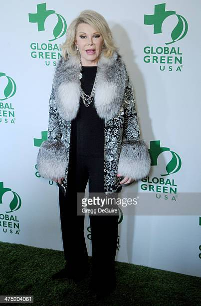 TV personality Joan Rivers arrives at the Global Green USA's 11th Annual PreOscar Party at Avalon on February 26 2014 in Hollywood California