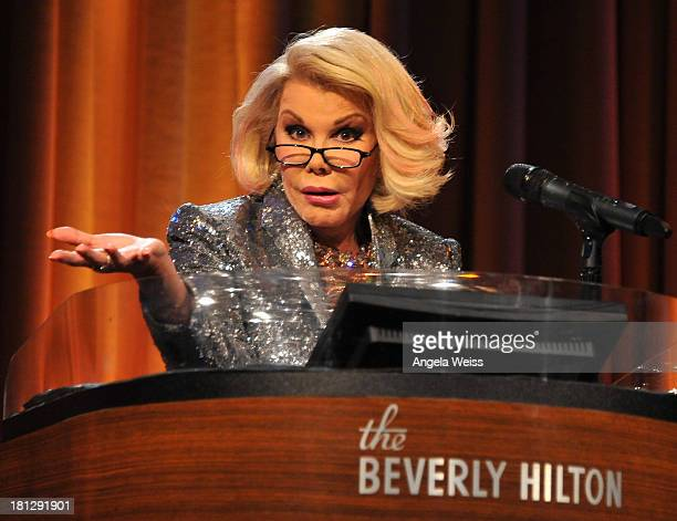 TV personality Joan Rivers attends the 12th Annual Heller Awards at The Beverly Hilton Hotel on September 19 2013 in Beverly Hills California