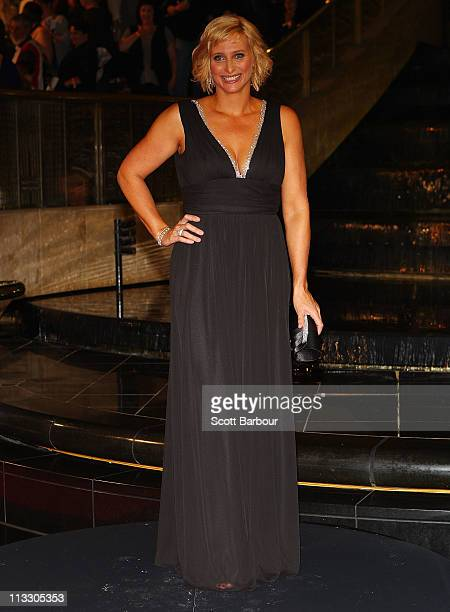 TV personality Joanna Griggs arrives on the red carpet ahead of the 2011 Logie Awards at Crown Palladium on May 1 2011 in Melbourne Australia