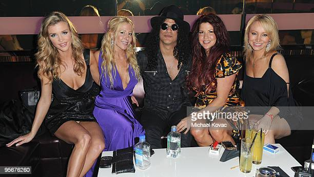 TV personality Joanna Krupa Traci Szymanski musician Slash wife Perla Hudson and Vicky Mirisch attend the amfAR Cocktail Party PokerStars Red Carpet...