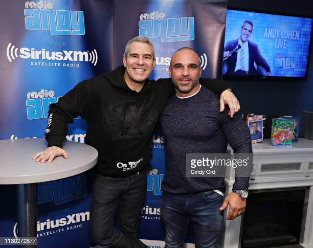Personality Joe Gorga poses for a photo with host Andy Cohen during a visit to SiriusXM's 'Radio Andy' at the SiriusXM Studios on March 13, 2019 in...