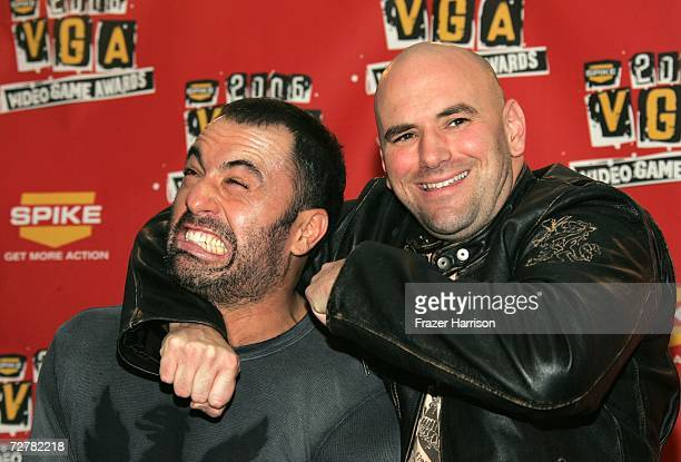 Personality Joe Rogan and UFC president Dana White pose in the press room during the 4th Annual Spike TV 2006 Video Game Awards held at The Galen...