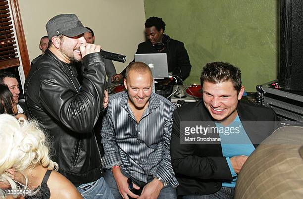 Personality Joey Fatone and Singer Nick Lachey inside at the Super Skins Kickoff Party hosted by Nick Lachey and Jimmie Johnson at the Hula Bay Club...