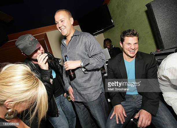 TV Personality Joey Fatone and Singer Nick Lachey inside at the Super Skins Kickoff Party hosted by Nick Lachey and Jimmie Johnson at the Hula Bay...