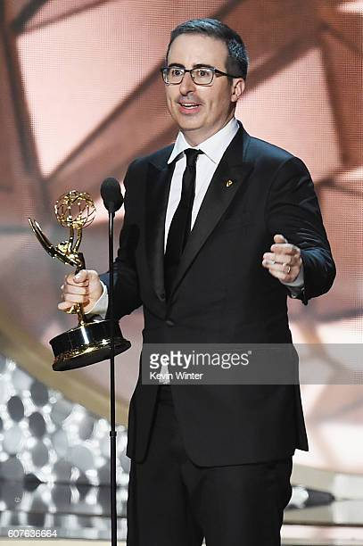 TV personality John Oliver accepts Outstanding Variety Talk Series for 'Last Week Tonight with John Oliver' onstage during the 68th Annual Primetime...
