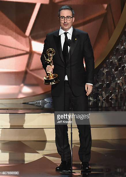 Personality John Oliver accepts Outstanding Variety Talk Series for 'Last Week Tonight with John Oliver' onstage during the 68th Annual Primetime...