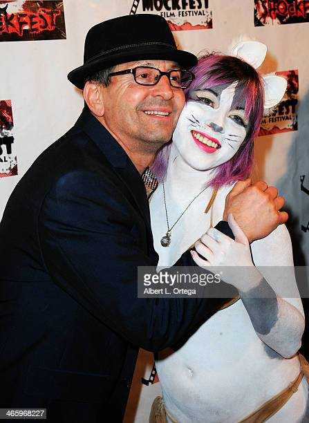 TV personality Johnny V and actress Brenna Rhea attend the ShockFest Film Festival Awards held at Raleigh Studios on January 11 2014 in Los Angeles...