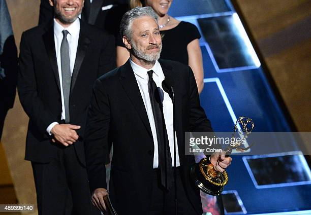 TV personality Jon Stewart accepts an award onstage during the 67th Annual Primetime Emmy Awards at Microsoft Theater on September 20 2015 in Los...