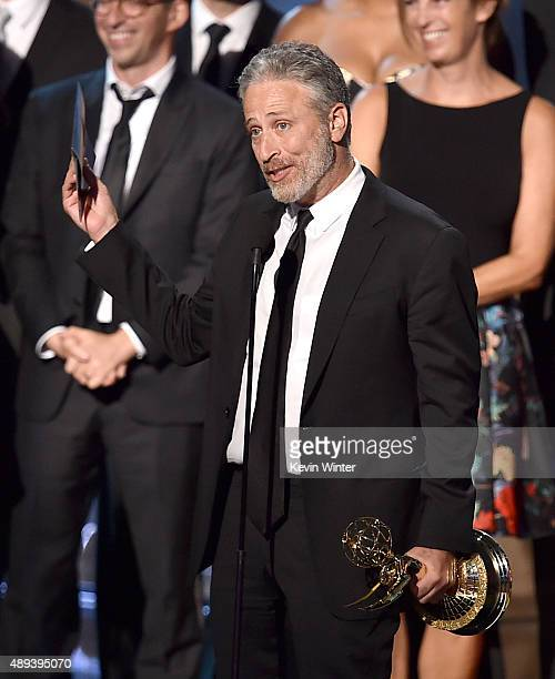 TV personality Jon Stewart accepts Outstanding Variety Talk Series award for 'The Daily Show with Jon Stewart' onstage during the 67th Annual...