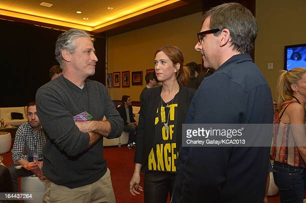 TV personality Jon Stewart actress Kristen Wiig and actor Steve Carell seen backstage at Nickelodeon's 26th Annual Kids' Choice Awards at USC Galen...