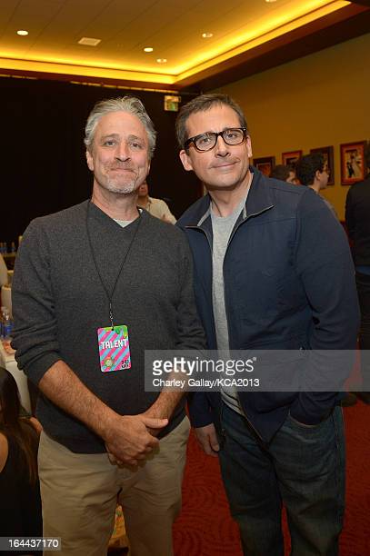 TV personality Jon Stewart and actor Steve Carell seen backstage at Nickelodeon's 26th Annual Kids' Choice Awards at USC Galen Center on March 23...