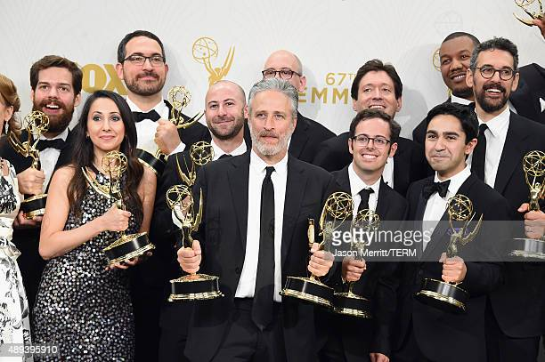 TV personality Jon Stewart and the writers of The Daily Show with Jon Stewart winners of Outstanding Variety Talk Series and Outstanding Writing for...
