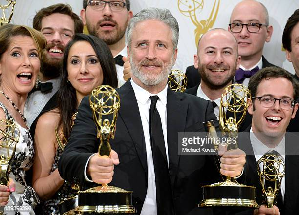 TV personality Jon Stewart and the writers of 'The Daily Show with Jon Stewart' winners of Outstanding Variety Talk Series and Outstanding Writing...