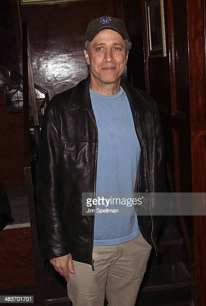 Personality Jon Stewart attends the Lionsgate Roadside Attractions with The Cinema Society premiere of 'Joe' after party at Chalk Point Kitchen on...