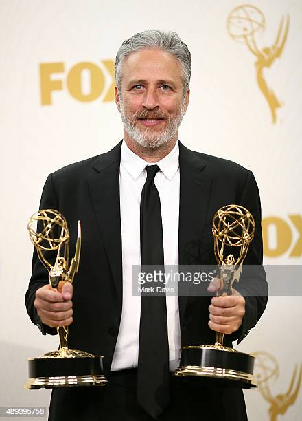 TV personality Jon Stewart winner of the Outstanding Variety Talk Series for 'The Daily Show with Jon Stewart' poses in the press room at the 67th...