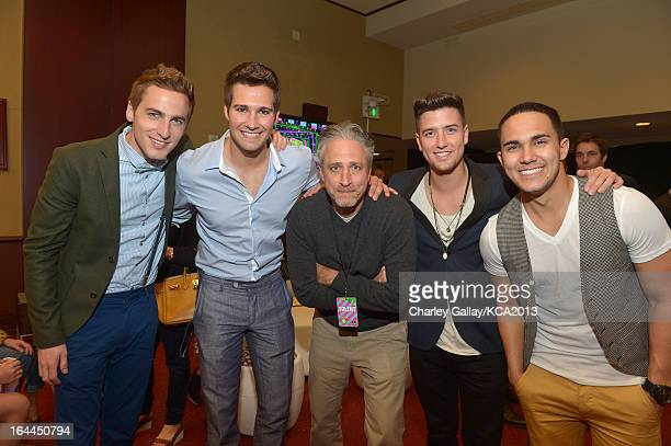 TV personality Jon Stewart with singers Kendall Schmidt Jason Maslow Logan Henderson and Carlos Pena Jr of Big Time Rush seen backstage at...