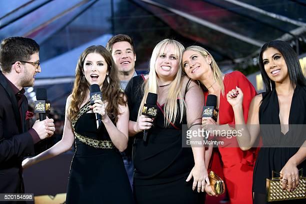 TV personality Josh Horowitz actors Anna Kendrick Adam DeVine Rebel Wilson Brittany Snow and Chrissie Fit attend the 2016 MTV Movie Awards at Warner...